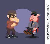 thief monkey planning to steal... | Shutterstock .eps vector #562043077