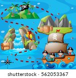 kids on ship and adventure map... | Shutterstock .eps vector #562053367