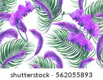 tropical flowers  palm leaves ... | Shutterstock .eps vector #562055893