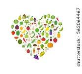 heart vegetables set  fruits ... | Shutterstock .eps vector #562064467