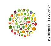 isolated vegetables set  fruits ... | Shutterstock .eps vector #562064497