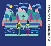 couple traveler with backpack.... | Shutterstock .eps vector #562079293