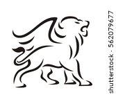 lion winged outline brush | Shutterstock .eps vector #562079677