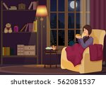 young woman at home sitting in... | Shutterstock .eps vector #562081537
