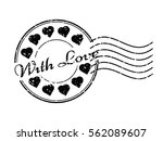 grunge black with love with... | Shutterstock .eps vector #562089607