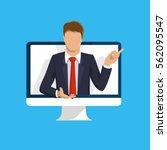 online learning. e learning... | Shutterstock .eps vector #562095547