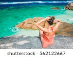 back view of a woman relaxing...   Shutterstock . vector #562122667