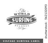 surfing label isolated on white ... | Shutterstock .eps vector #562132093