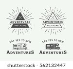 Set of vintage camping outdoor and adventure logos, badges, labels, emblems, marks and design elements. Monochrome graphic Art. Vector Illustration.   | Shutterstock vector #562132447