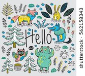 hello card. colorful hand drawn ... | Shutterstock .eps vector #562158343