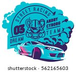 burnout car  japanese drift... | Shutterstock .eps vector #562165603