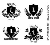 heraldic laurel shields... | Shutterstock .eps vector #562166407