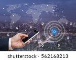 businessman using mobile smart... | Shutterstock . vector #562168213