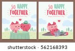 happy valentines day. cute...   Shutterstock .eps vector #562168393
