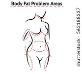 female body fat problems areas. ... | Shutterstock .eps vector #562188337