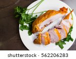 smoked chicken breast on a...   Shutterstock . vector #562206283