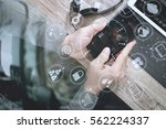top view of man hand using voip ... | Shutterstock . vector #562224337