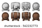 wooden barrel front and side... | Shutterstock .eps vector #562232773