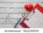 stethoscope with red heart and...   Shutterstock . vector #562235053
