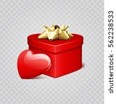 red heart shape with gift box... | Shutterstock .eps vector #562238533