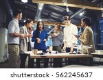 crew of skilled journalists... | Shutterstock . vector #562245637