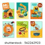 Stock vector affordable pet care store advertisement mini banners collection with healthy food and accessories 562262923