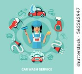 car wash service round... | Shutterstock .eps vector #562262947