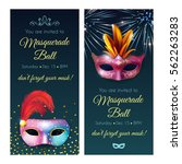 masquerade invitation party... | Shutterstock .eps vector #562263283