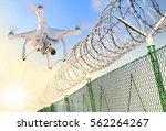 drone monitoring barbed wire... | Shutterstock . vector #562264267
