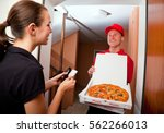 pizza delivery | Shutterstock . vector #562266013