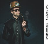 Steampunk Man Smoking A Pipe....