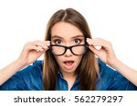 wow  surprised pretty young... | Shutterstock . vector #562279297