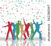 silhouettes of party people on... | Shutterstock .eps vector #562280347