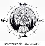 nature pine forest mountain... | Shutterstock .eps vector #562286383