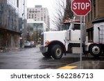 large white bonneted big rig... | Shutterstock . vector #562286713