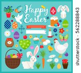 easter colored icons. spring... | Shutterstock .eps vector #562288843