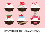 white cupcakes in happy...   Shutterstock .eps vector #562295407