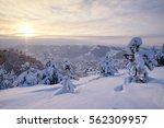 Winter Sunset Snow Field On To...