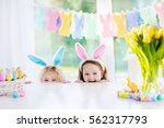 Boy And Girl In Bunny Ears At...
