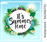 summer poster with tropical...