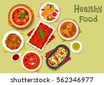 nourishing meat dinner dishes...   Shutterstock .eps vector #562346977