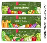 vegetables banners. farmers... | Shutterstock .eps vector #562347097