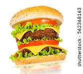 tasty and appetizing hamburger... | Shutterstock . vector #562368163