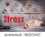 stress concept. stack of books... | Shutterstock . vector #562371427