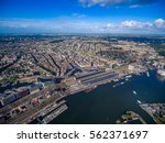 city aerial view over amsterdam ... | Shutterstock . vector #562371697