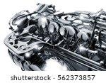 saxophone keys close up | Shutterstock . vector #562373857