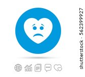 sad heart face sign icon.... | Shutterstock .eps vector #562399927