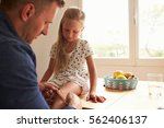 father putting sticking plaster ... | Shutterstock . vector #562406137