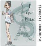 cute parisian girl | Shutterstock .eps vector #562406953