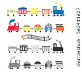 watercolor toy trains for kids... | Shutterstock .eps vector #562411627